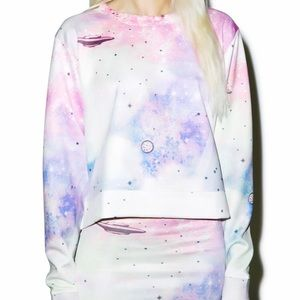 Wildfox space cadet galaxy pullover crew sweater